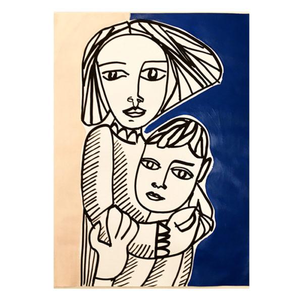 Portrait de famille réalisé par Marie au posca et peinture