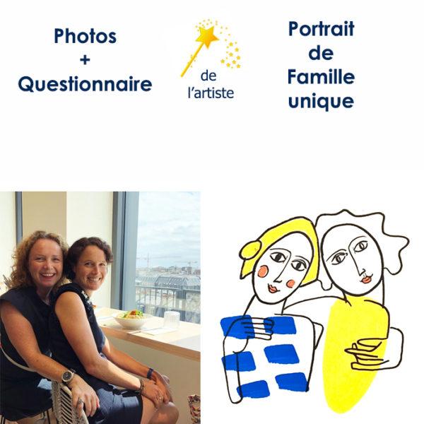 Portrait de famille dessiné au posca par Marie
