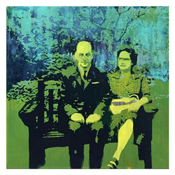 Portrait de famille sérigraphie et peinture sur métal