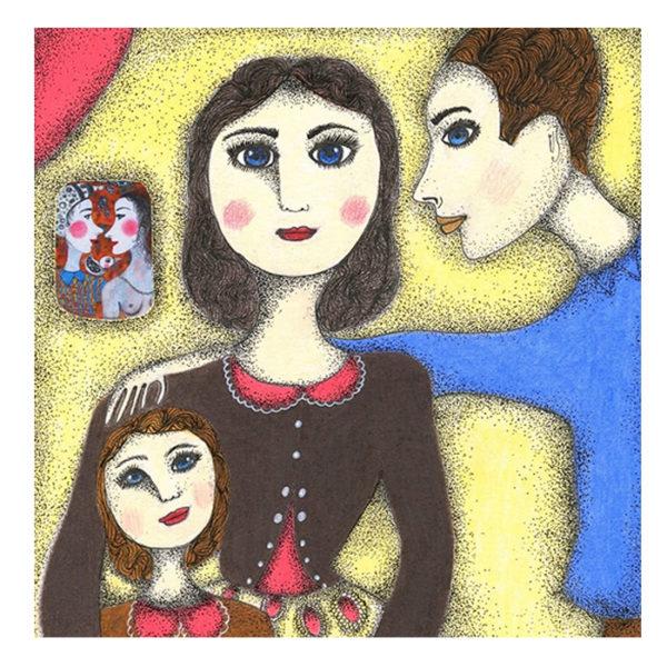 Portrait de famille personnalisé peint sur canvas pour Happy Funky Family