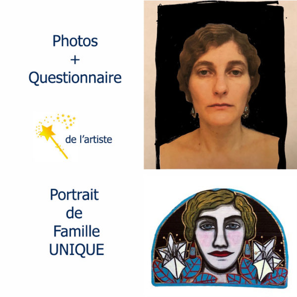 Portrait de famille peint sur carton par Juliette