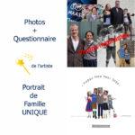 Portrait de famille technique mixte photographique et illustration