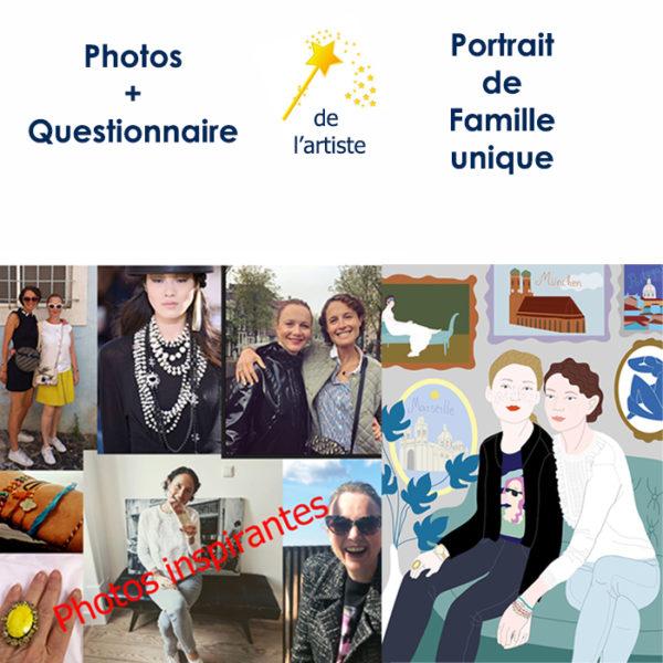 Portrait de famille réalisé par katarina sous forme d'illustration digitale