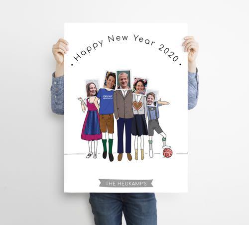 portrait de famille avec technique d'illustration et de photo