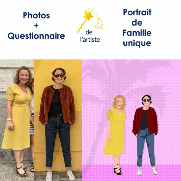 Portrait de famille personnalisé d'après photo