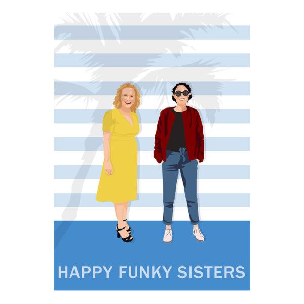 portrait de famille des Happy Funky sisters réalisé digitalement par Anna de Pologne