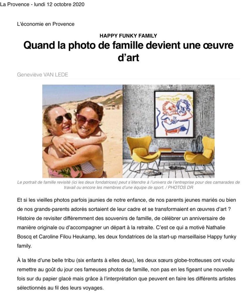Parution Happy Funky Family dans le journal La Provence du 12 octobre 2020