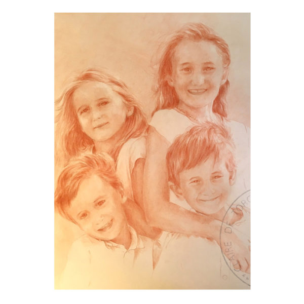Portrait personnalisé au crayon sanguine