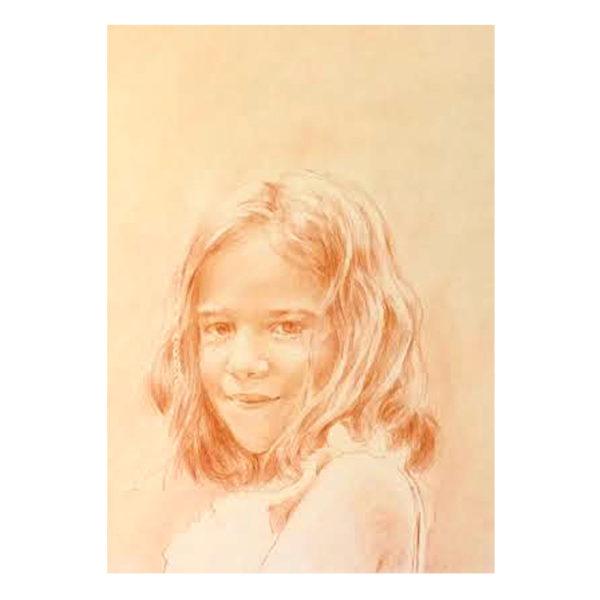 Commande d'un portrait sur mesure d'un petite fille a la sanguine