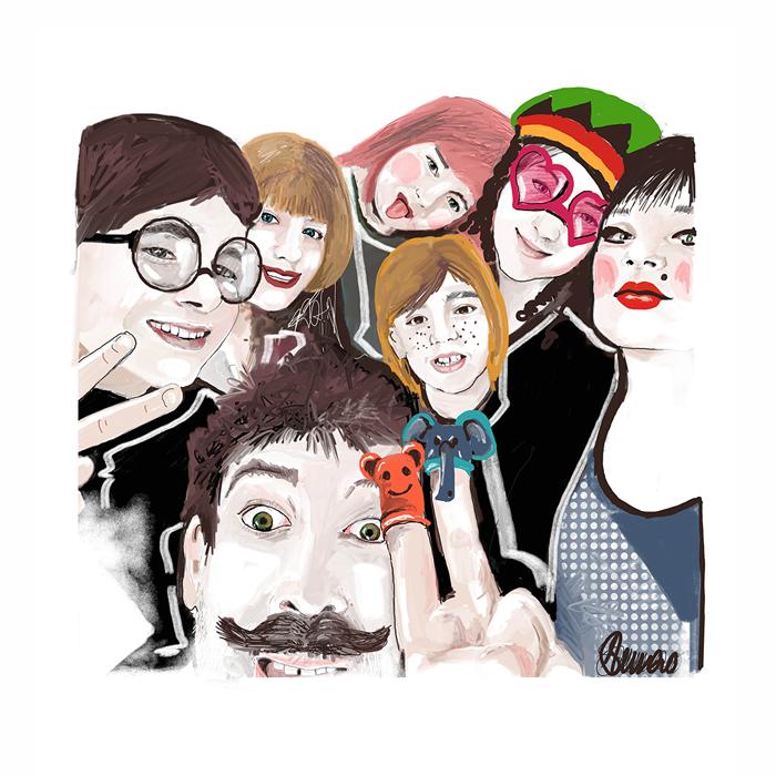 portrait personnalisé et sur mesure pour Happy Funky Family