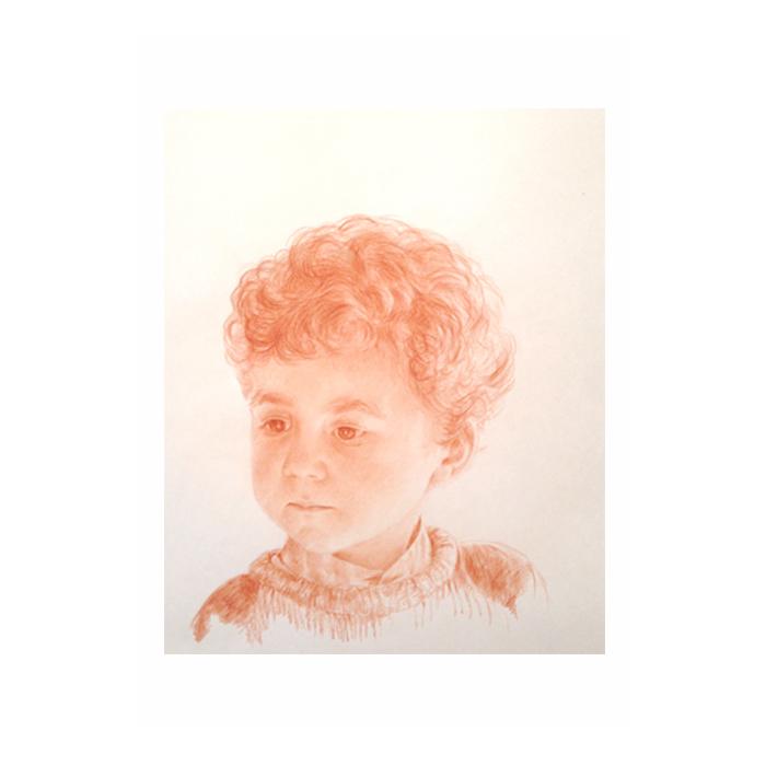 Commande d'un portrait sur mesure d'un petit garçon a la sanguine