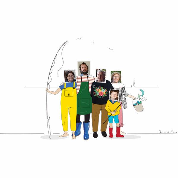 portrait de famille personnalisé comme cadeau de Noël