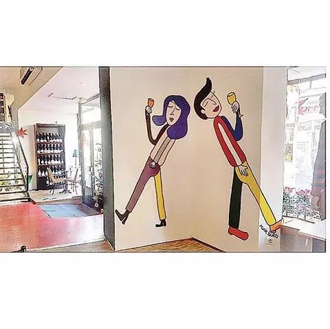 Peinture murale dans un magasin sur mesure