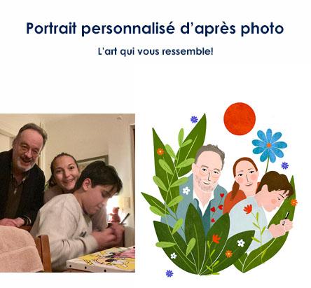 portrait fleuri dessiné digitalement
