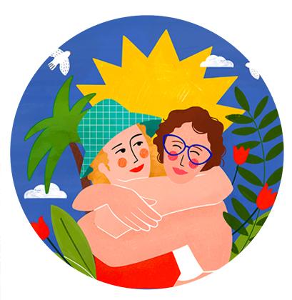 Portrait des deux soeurs sur mesure en illustration digitale