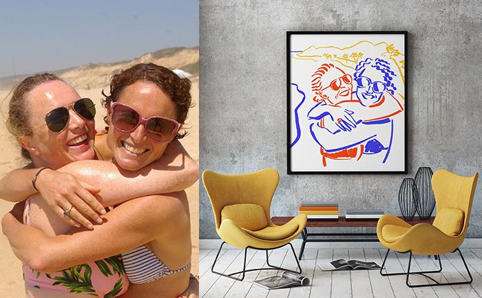 portrait de deux soeurs sur la plage en illustration digitale